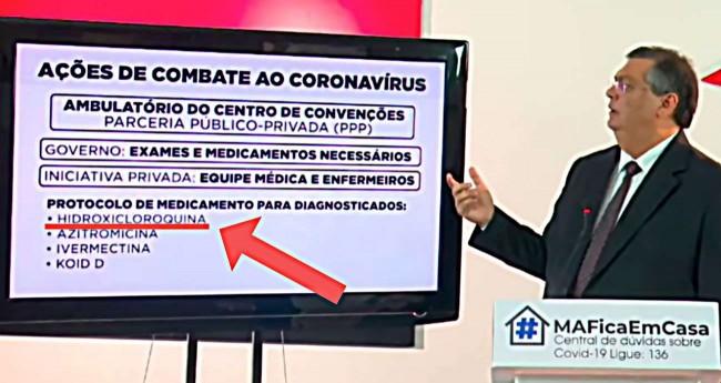 Flávio Dino anunciando a hidroxicloroquina no combate ao Covid-19