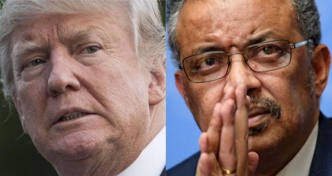 Fotomontagem: Donald Trump e Tedros Adhanom