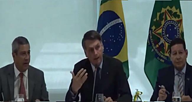 Jair Bolsonaro em reunião ministerial