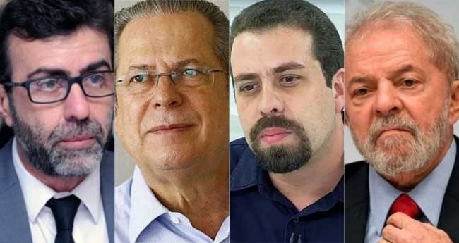 Fotomontagem: Marcelo freixo, José Dirceu, Guilherme Boulos e Lula