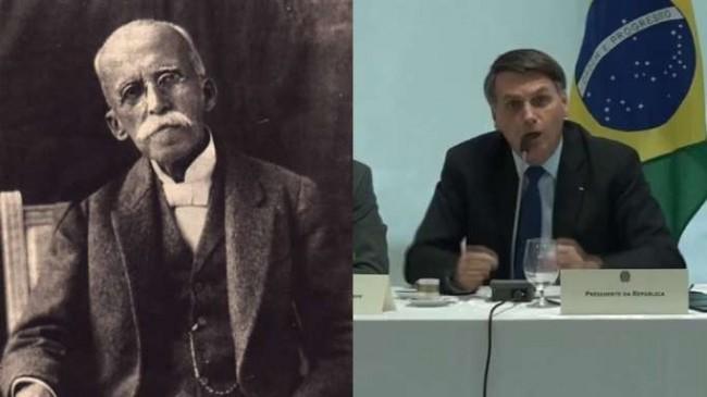 Fotomontagem: Em 1919, Rui Barbosa. Em 2020, Jair Bolsonaro.