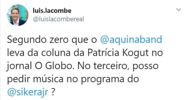 Publicação de Luís Ernesto Lacombe no Twitter