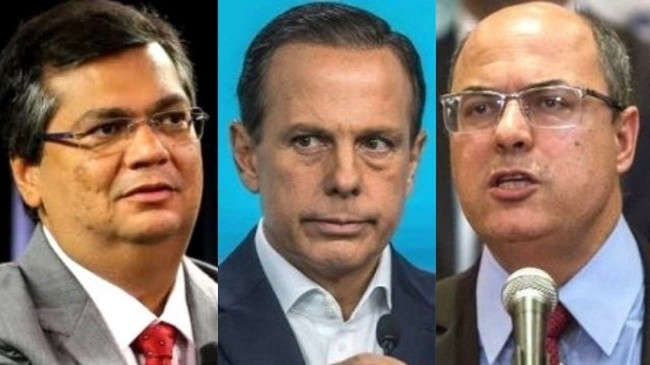 Fotomontagem: Flávio Dino, João Doria e Wilson Witzel
