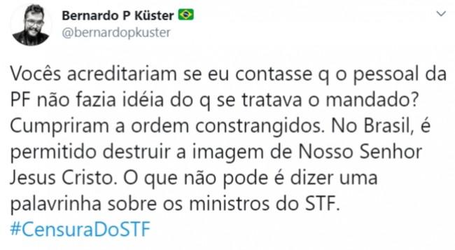 Publicação de Bernardo Küster no Twitter