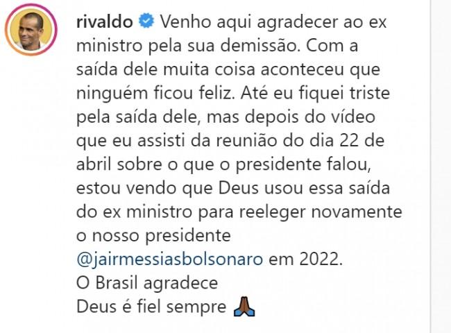 Publicação de Rivaldo no Instagram