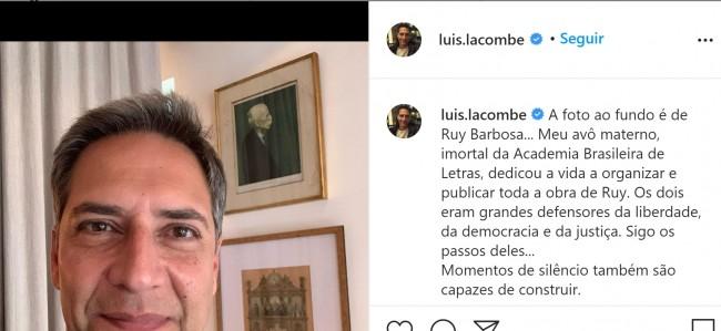 Publicação de Lacombe no Instagram
