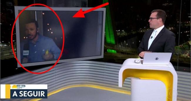 Repórter André Modesto em fuga e Rodrigo Bocardi, durante o programa Bom Dia SP