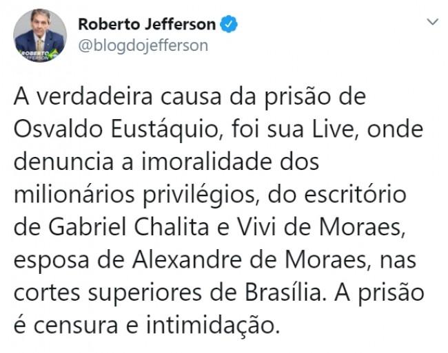 Publicação de Roberto Jefferson no Twitter