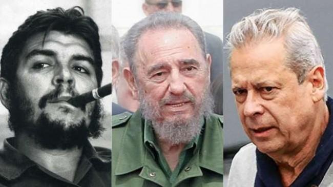 Fotomontagem ilustrativa: Che Guevara, Fidel Castro e José Dirceu.