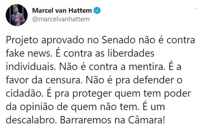 Publicação de Marcel van Hattem no Twitter