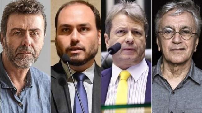 Fotomontagem: Freixo, Carlos Bolsonaro, Bibo Nunes e Caetano Veloso.