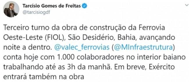Publicação de Tarcísio de Freitas no Twitter