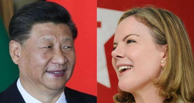 Fotomontagem: Xi Jinping e Gleisi Hoffmann