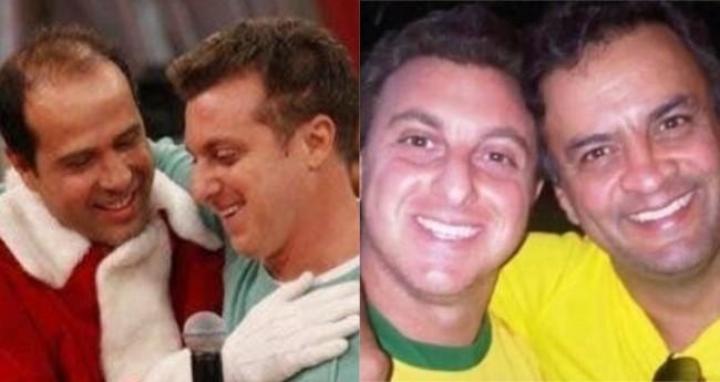 Fotomontagem: Luciano Huck com Ricardo Nunes e Aécio Neves