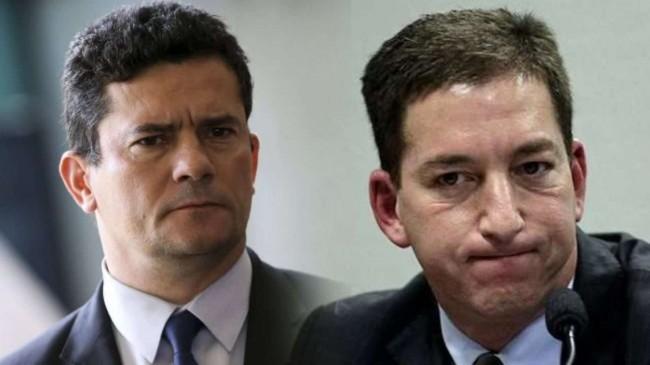 Fotomontagem: Sérgio Moro e Glenn Greenwald