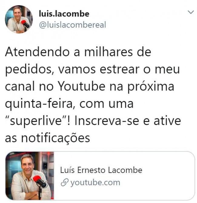 Publicação de Lacombe no Twitter