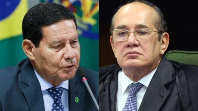 Fotomontagem: General Mourão e Gilmar Mendes