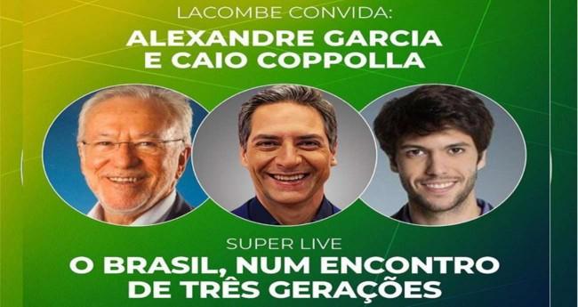 Divulgação/ Live - Alexandre Garcia, Luís Ernesto Lacombe e Caio Coppolla