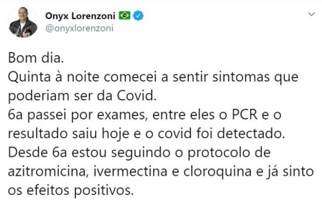 Publicação de Onyx Lorenzoni no Twitter