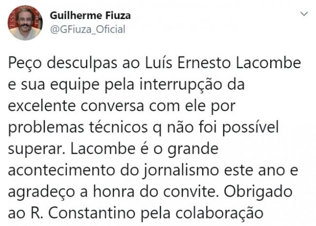 Publicação de Guilherme Fiuza no Twitter