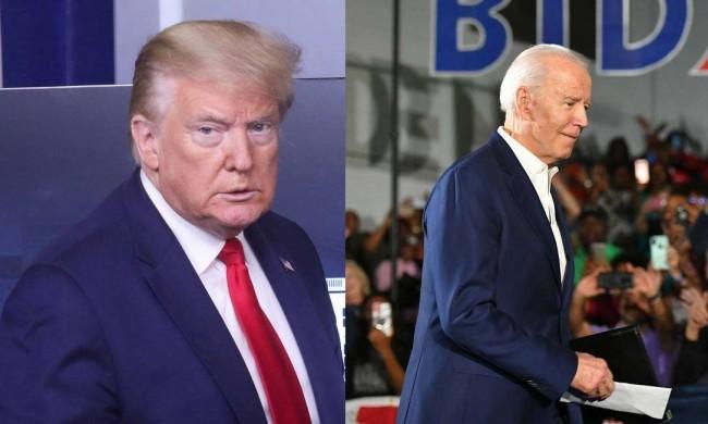 Fotomontagem: Donald Trump e Joe Biden