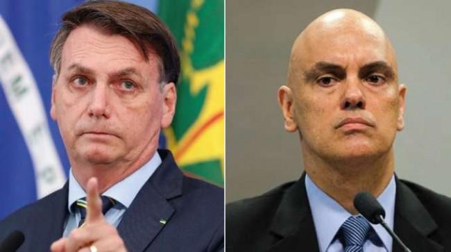Fotomontagem: Jair Bolsonaro e Alexandre de Moraes