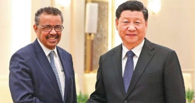 Diretor da OMS, Tedros Adhanom e o presidente da China, Xi Jinping