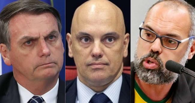 Fotomontagem: Jair Bolsonaro, Alexandre de Moraes e Allan dos Santos