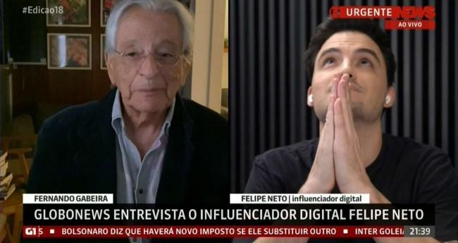 Foto Reprodução/GloboNews: Fernando Gabeira e Felipe Neto