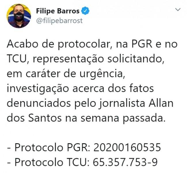 Publicação de Filipe Barros no Twitter