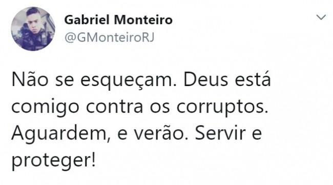 Publicação de Gabriel Monteiro no Twitter
