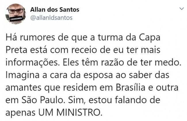 Publicação de Allan dos Santos no Twitter