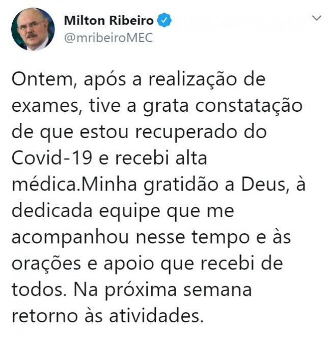 Publicação de Milton Ribeiro no Twitter