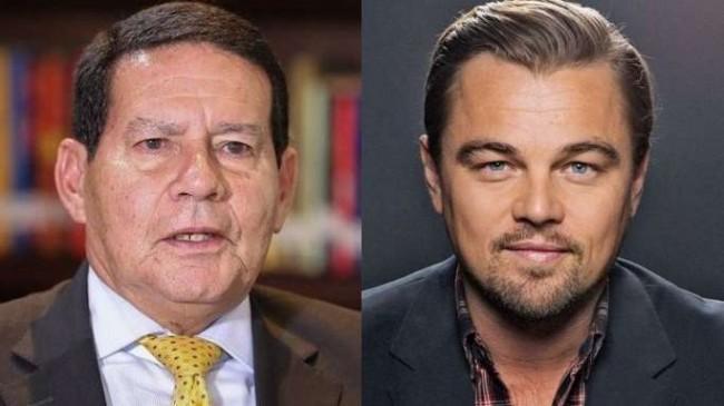 Fotomontagem: General Mourão e Leonardo DiCaprio