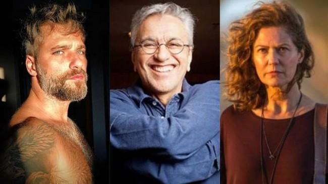 Fotomontagem: Bruno Gagliasso, Caetano Veloso e Patrícia Pillar