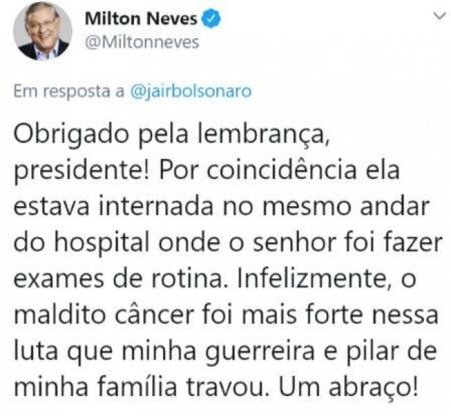 Publicação de Milton Neves no Twitter