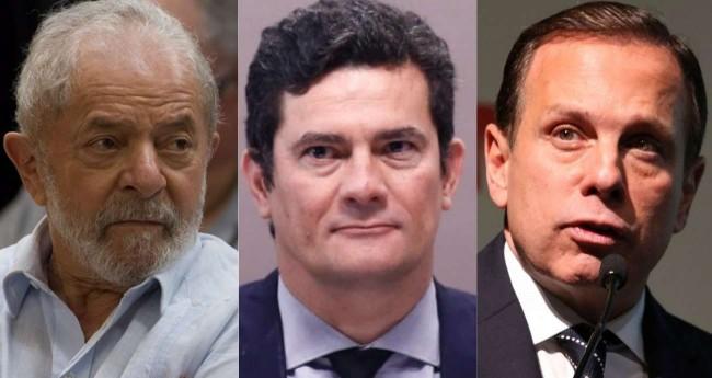 Fotomontagem: Lula, Moro e Doria