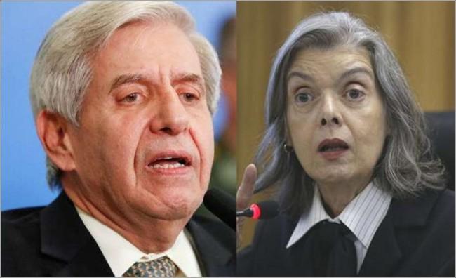 Fotomontagem: General Augusto Heleno e Ministra Cármen Lúcia