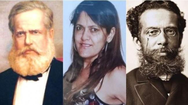 Fotomontagem: Dom Pedro II, Professora Heley Batista e Machado de Assis