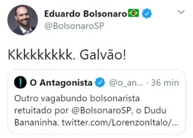 Publicação de Eduardo Bolsonaro no Twitter