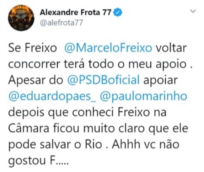 Publicação de Alexandre Frota no Twitter