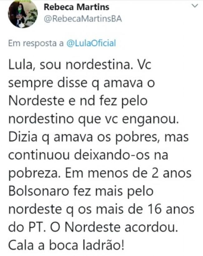 Publicação de Rebeca Martins no Twitter