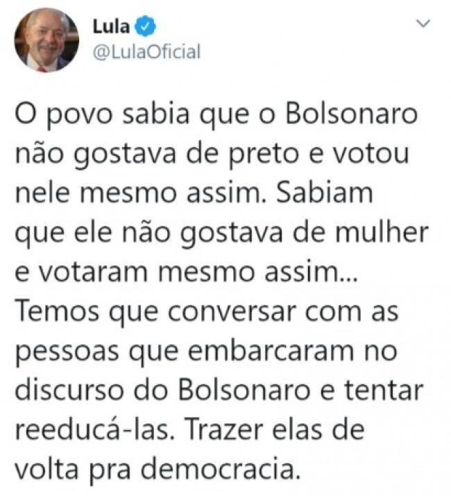 Publicação de Lula no Twitter