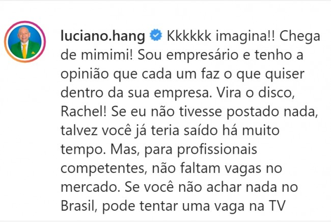 Publicação de Luciano Hang no Instagram