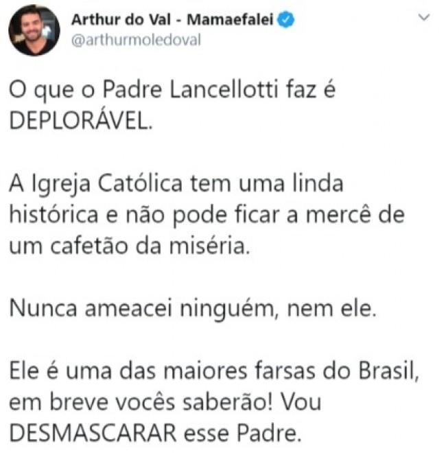 Publicação de Arthur do Val no Twitter