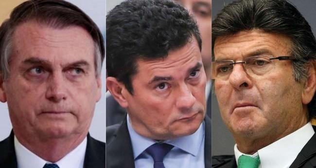 Fotomontagem: Jair Bolsonaro, Sérgio Moro e Luiz Fux