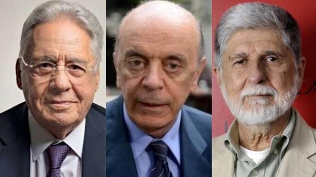 Fotomontagem: FHC, José Serra e Celso Amorim