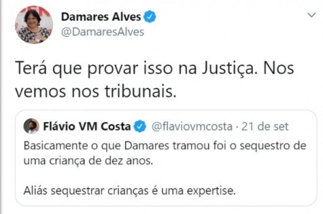Publicação de Damares Alves no Twitter