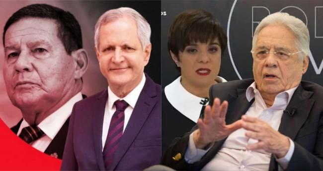 Fotomontagem: Hamilton Mourão, Augusto Nunes, Vera Magalhães e Fernando Henrique Cardoso