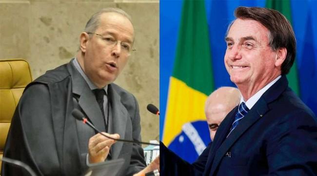 Fotomontagem: Celso de Mello e Jair Bolsonaro